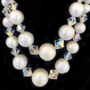 DOUBLE STRAND PEARL& CRYSTAL VINTAGE NECKLACE 17""